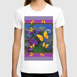 PURPLE-PUCE YELLOW BUTTERFLIES FLORAL ABSTRACT T-shirt