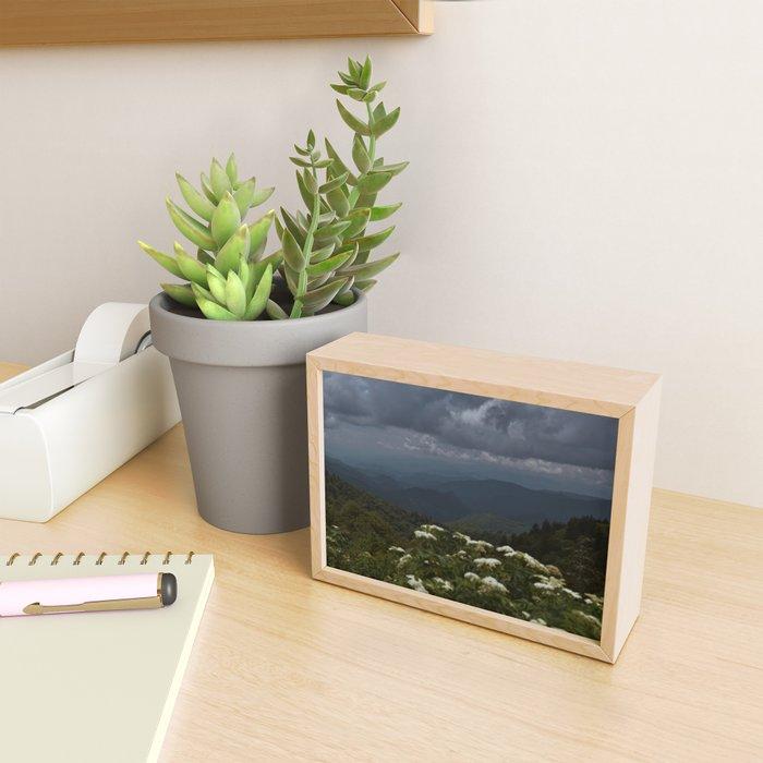 Smoky Mountains and Flowers Framed Mini Art Print