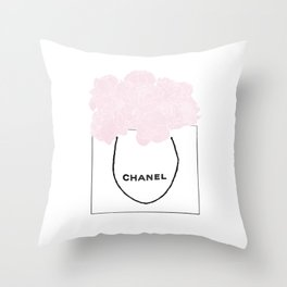 shopping bag with pink flowers Throw Pillow