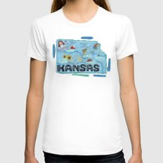 KANSAS White Womens Fitted Tee SMALL
