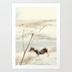 Winter Weeds + Blurry Horse Art Print