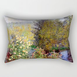 "Claude Monet ""Corner of the Garden at Montgeron"" Rectangular Pillow"