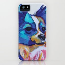 Papillon Pop Art Dog Portrait iPhone Case