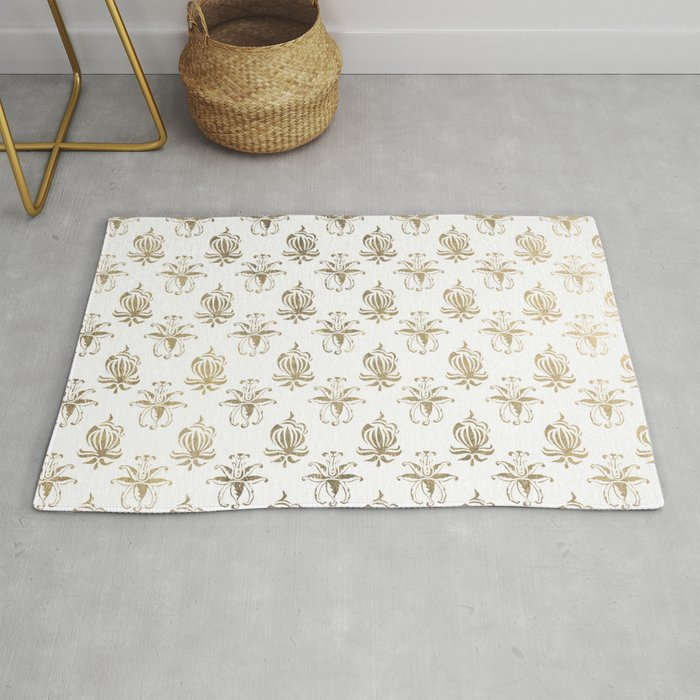 Vintage White Faux Gold Fl Damask Rug By Pink Water