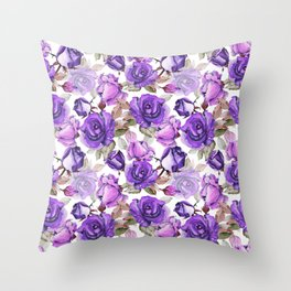 Violet lilac pink watercolor botanical roses floral Throw Pillow