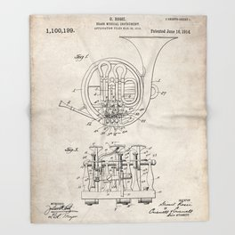French Horn Patent - Horn Player Art - Antique Throw Blanket