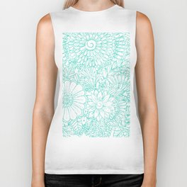 Artistic teal white hand painted floral pattern Biker Tank