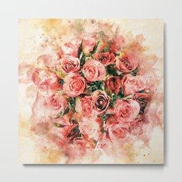 Vintage watercolor roses Metal Print