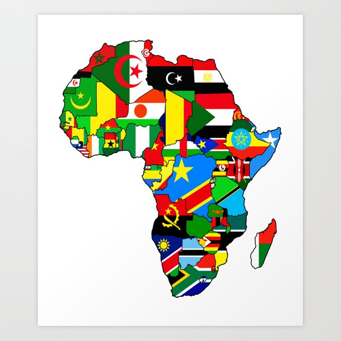 Flags of African countres Africa map Art Print