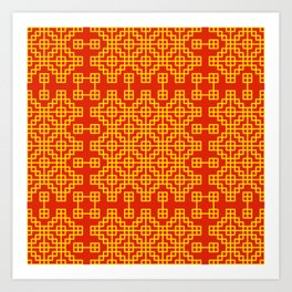 Chinese grid pattern in traditional colors Art Print