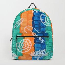 Hand Drawn Multi Colors Stripe Grid Pattern x Summer Vibe Orange Green Blue Backpack