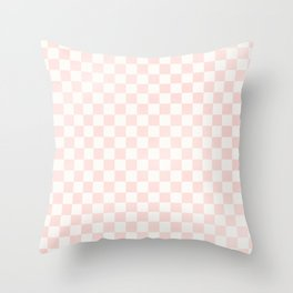 Blush Pink Coral Checkers Throw Pillow