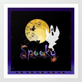 Spooky Halloween - Full Moon Witch Ghost Cats & Bats Art Print