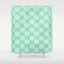 Ship Wheel (White & Mint Pattern) Shower Curtain