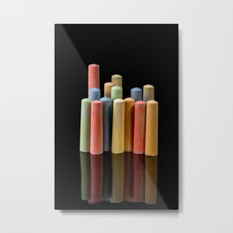 Colorful crayons for drawing on asphalt Metal Print