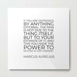 Marcus Aurelius Stoic philosophy quote - If you are distressed by anything external Metal Print