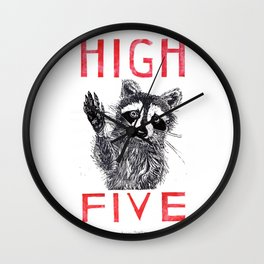Raccoon High Five  Wall Clock