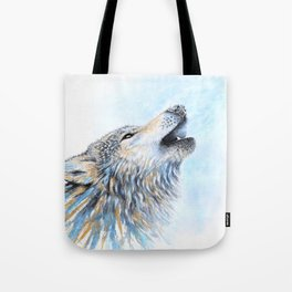 """Howling"" Watercolor Wolf Tote Bag"