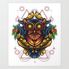 Owl Ornamental Sacred Geometry Art Print