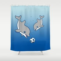 soccer Shower Curtains featuring Soccer Dolphins by joanfriends