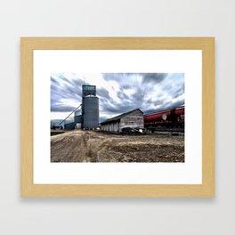 Grain Elevator, Shed, Train Framed Art Print