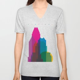 Shapes of Montreal. Accurate to scale. Unisex V-Neck