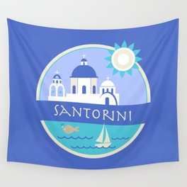 Santorini Greece Badge Wall Tapestry