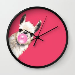 Bubble Gum Sneaky Llama in Red Wall Clock
