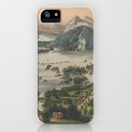 Vintage Lakes of Killarney Pictorial Map (1868) iPhone Case