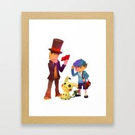 Professor Layton meet Mimikyu Framed Art Print