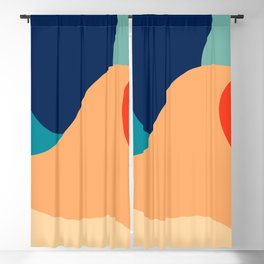Retro 70's colorful abstraction Blackout Curtain