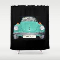 volkswagen Shower Curtains featuring Wander Old Beetle. Vintage Volkswagen by Guido Montañés