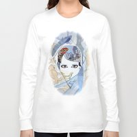 60s Long Sleeve T-shirts featuring '60s Eyes Collage with White Background by Katy Rose
