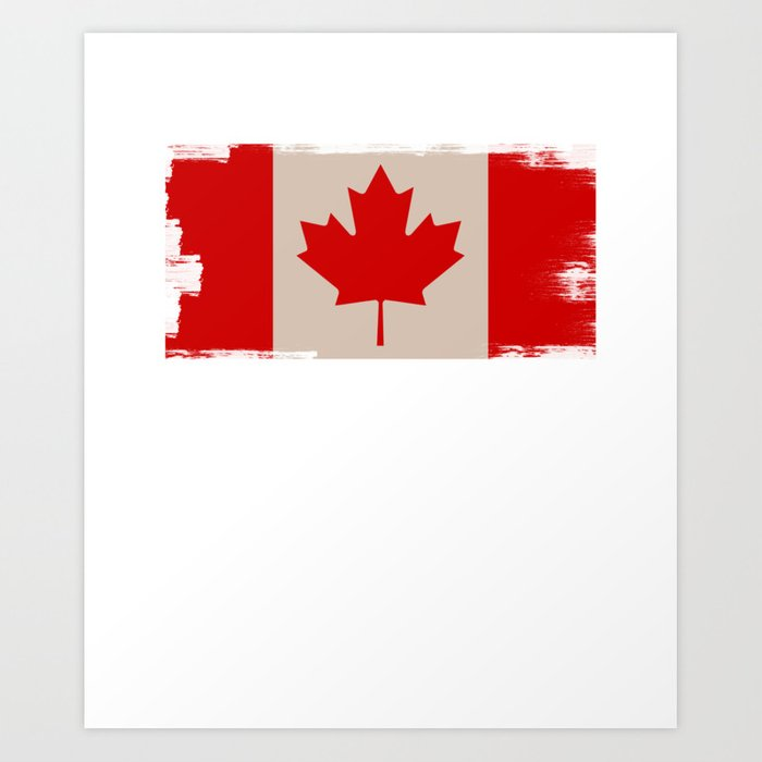 Canada Flag Maple Leaf Distressed Design Canadian Art Print By