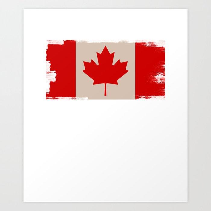 Canada Flag Maple Leaf Distressed Design Canadian Art Print
