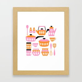 My Midcentury Modern Kitchen In Pink And Tangerine Framed Art Print