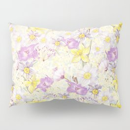 Vintage pattern- Spring in purple and yellow- daffodils and anemones Pillow Sham