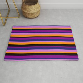 Midnight Blue, Orchid, Dark Orange, Black, and Dark Magenta Colored Lined Pattern Rug