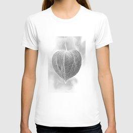 Chinese Lantern Pod Smoke - Mono Negative Macro T-shirt