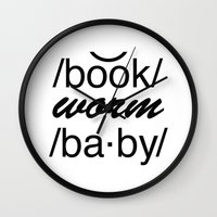 bookworm Wall Clocks featuring Bookworm Baby by book quay