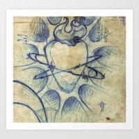 sacred heart in blue Art Print