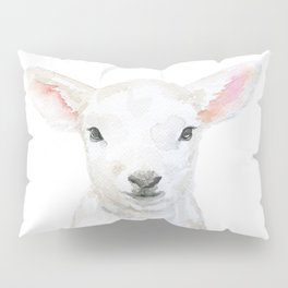 Lamb Face Watercolor Pillow Sham