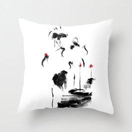 7 Cranes Throw Pillow