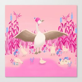 Mommy goose and her little goslings Canvas Print