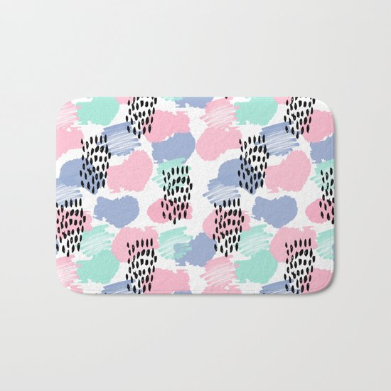 Pastel painted pattern minimal mint and pink nursery home decor patterns Bath Mat