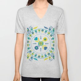 Folk Flowers in Yellow and Turquoise Unisex V-Neck