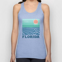 Florida - retro travel poster 70s throwback minimal ocean surfing vacation beach Unisex Tank Top