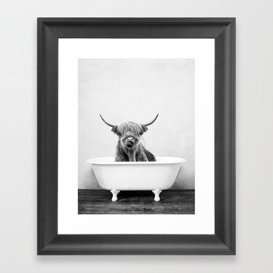 Highland Cow in a Vintage Bathtub (bw) by amypetersonartstudio