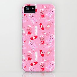 Menhera Nurses on Pink Featuring bears and bandages iPhone Case