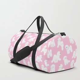 Bichon Frise Pattern (Pink Background) Duffle Bag